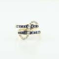 Divine 14K Yellow Gold Princess Cut Sapphire Round Diamond Bypass Ring