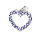 Modern Womens 14K White Gold Real Iolite and Diamond 1.10CTW Heart Pendant Jewelry