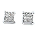 NEW Modern 14k White Gold Princess Cut Diamond 0.20CTW Studs Earrings