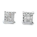 NEW Modern 14k White Gold Princess Cut Diamond 0.20CTW Studs Earrings