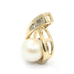 Classic Vintage 14K Yellow Gold Natural Diamond Gold Pearl Drop Pendant