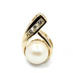 Classic Vintage 14K Yellow Gold Natural Diamond Gold Pearl Drop Pendant