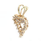 Fine Vintage Estate 14K Yellow Gold Diamond 0.35CTW Cluster Heart  Pendant