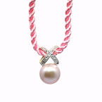 "Estate 14k Yellow Gold Pink Pearl and Diamond Pendant in 15"" Pink Twisted Rope Chain"