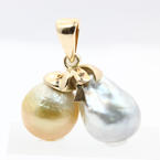 Vintage 14K Yellow Gold Freshwater Baroque Gold & White Pearl Pendant Jewelry