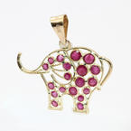 Vintage Estate 14K Yellow Gold Ruby Red Elephant Pendant