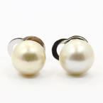 Classic Ladies 14K White Gold Saltwater Pearl Stud Earrings Jewelry