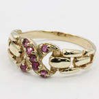 Charming Ladies Estate 10K Yellow Gold Spinel Infinity Ring Jewelry