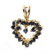 Fine Vintage Estate 14K Yellow Gold Blue Spinel 0.35CTW Cluster Heart  Pendant