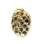 Unique Estate 18K Yellow Gold Blue Spinel 1.20CTW Apple Pendant Jewelry