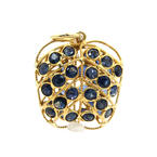 Unique Estate 18K Yellow Gold Blue Spinel 1.20CTW Apple Pendant Jewelry