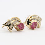 Vibrant Estate Ladies 14K Yellow Gold Pink Topaz and Natural Diamond 1.10CTW Earrings Jewelry