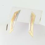 Sublime 14K Yellow Gold Tri-Color Vintage Dangle Earrings