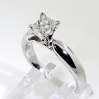 Stunning Ladies Estate 14K White Gold Diamond 0.88CTW Princess Cut Engagement Ring