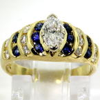 Stunning Ladies 18K Yellow Gold Marquise Diamond Spinel 1.00CTW Right Hand Ring