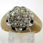 Handsome Men's 14K Yellow Gold Diamond 0.95CTW Kentucky Cluster Ring Jewelry