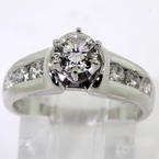 Scintillating Ladies Estate 14K White Gold Diamond 1.10CTW Engagement Ring Jewelry