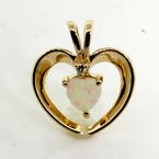 Classic Retro 14K Yellow Gold Firey Opal and Diamond Heart Pendant Jewelry