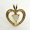 Lovely Ladies 14K Yellow Gold Opal and Diamond Heart Pendant Jewelry