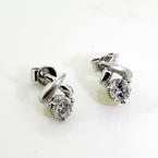 Exquisite Ladies 18K White Gold Diamond Stud Earrings Jewelry