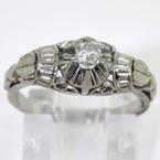 Vintage Estate 10K White Gold Old Mine Cut Natural Diamond Engagement Ring