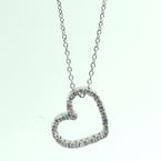 "Lovely Estate 14K White Gold Diamond 0.37CTW Heart Pendant and 16"" Chain Jewelry"