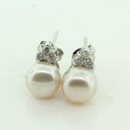 Lustrous Ladies 18K White Gold Freshwater Button Pearl Diamond Earrings