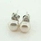 Lustrous Ladies 18K White Gold Freshwater Button Pearl Diamond Earrings