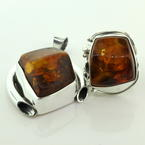 Vintage Estate Ladies Lustrous Silver 925 Amber Pendant and Ring Jewelry Set