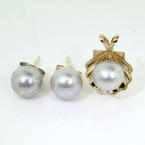 Lustrous Classic 14K Yellow Gold Pearl Stud Seashell Pendant 2PC Jewelry Set