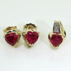 Lovely Ladies 10K Yellow Gold Red Spinel Heart Two Piece Jewelry Set