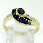 Retro Estate Ladies 14K Yellow Gold Blue Sapphire Diamond Cocktail Ring