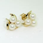 Classic Retro Vintage 14K Yellow Gold Cultured White Pearl  Earrings