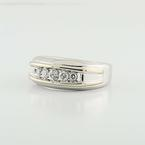 Handsome 14K White Yellow Gold Mens 5 Round Diamond Wedding Band Ring
