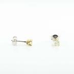 Stunning 18K Yellow White Gold Round Diamond Stud Earrings