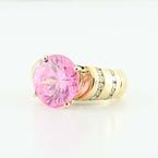 Stunning 18K Yellow Gold Pink Quartz Round Diamond Cocktail Ring