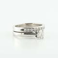 Wonderful 14K White Gold Solitaire Round Diamond Engagement Wedding Ring Set