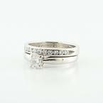 Wonderful 14K White Gold Solitaire Round Diamond Engagement Wedding Ring Set