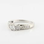 Charming 14K White Gold 3 Stone Round Diamond Engagement Wedding Ring