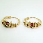 Lustrous Ladies Vintage 22K Yellow Gold Endless Clasp Hoop Earrings Jewelry