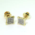 Modern Unisex 10k Yellow Gold Natural Diamond 0.10CTW Studs Earrings Jewelry