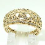 Charming Ladies Vintage 14K Yellow Gold Diamond 0.55CTW Ring Hand Ring Jewelry