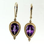 Charming Ladies Vintage 14K Yellow Gold Amethyst 5.45CTW Drop Earrings Jewelry