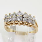 Scintillating Ladies 14K Yellow Gold Diamond 1.10CTW Cluster Pyramid Ring Jewelry