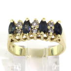 Classic Retro Estate 14K Yellow Gold Diamond and Marquise Blue Topaz Ring