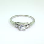 Dazzling Ladies 18K White Gold Three Stone Diamond 0.40CTW Engagement Ring Jewelry