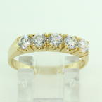 Scintillating Ladies 14K Yellow Gold Cubic Zirconia Ring Band Jewelry