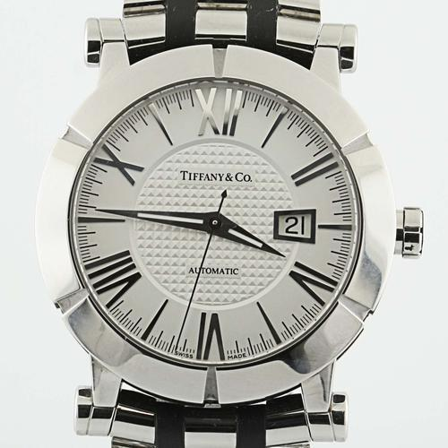 authentic tiffany amp co atlas stainless steel rubber automatic authentic tiffany co atlas stainless steel rubber automatic mens 42mm watch