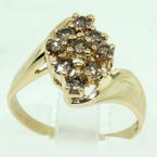 Charming Ladies 14K Yellow Gold Champagne Diamond 0.90CTW Cluster Ring Jewelry