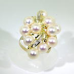 Lustrous Ladies 14K Yellow Gold Pearl Diamond Cocktail Ring Jewelry